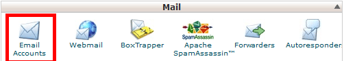 Email Accounts section in cpanel