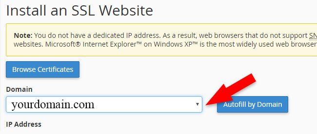 Select Domain to Install SSL
