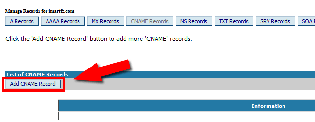 Add New CNAME Records