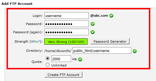 Add FTP Accounts in cPanel