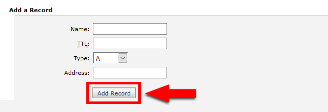 Add Record in DNS Zone Editor
