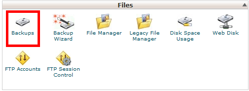 Backups icon in cPanel