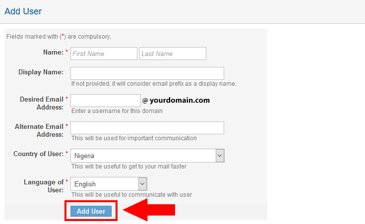 Create Free Email by clicking Add User