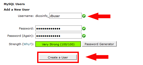 Create MySQL User in cPanel