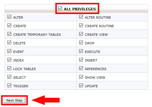 Set MySQL user privileges
