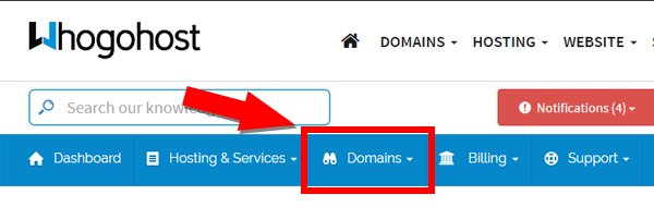 Manage Domains at Whogohost