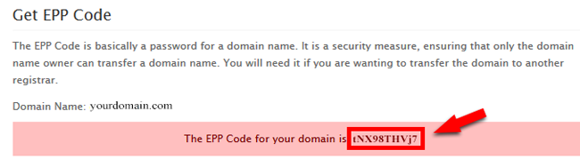 EPP code for your domain at domainking