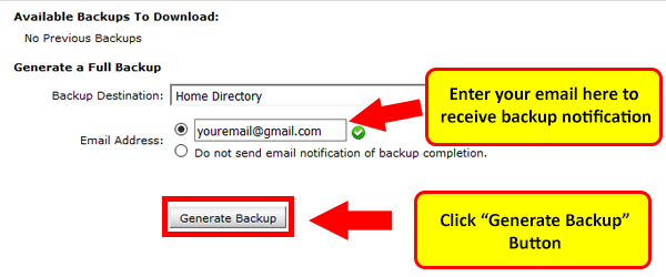 Generate website backup in cPanel