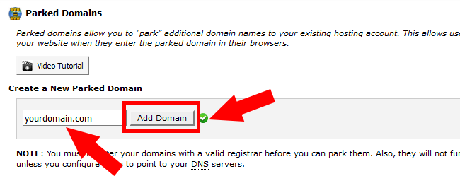 Domain Parking in cPAnel