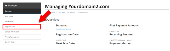 Registrar lock of domain name at Smartweb