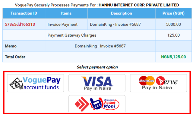 select a payment option to pay your unpaid invoice
