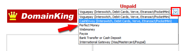 Select cashenvoy payment method