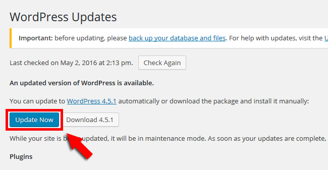 Update WordPress from Admin panel