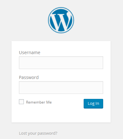 Wordpress Admin panel Login page