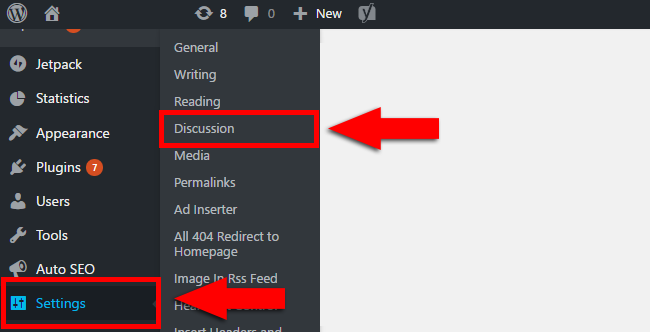 Discussion Settings in WordPress